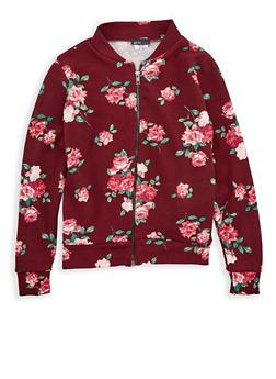 Girls 7-16 Burgundy Floral Print Baseball Jacket - 1627061950004