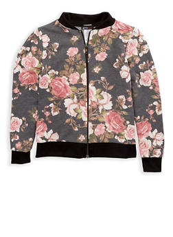 Girls 7-16 Black Floral Zip Jacket - 1627061950006