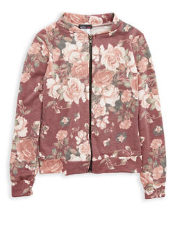 Girls 7-16 Floral Print Zip Up Jacket - 1627061950007