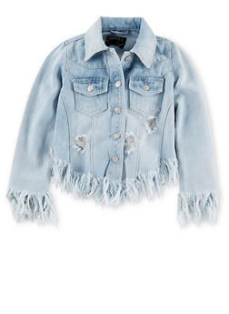 Girls 7-16 Asymmetrical Frayed Denim Jacket - 1627063400001