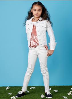Girls 7-16 Distressed Denim Jacket - 1627063400002