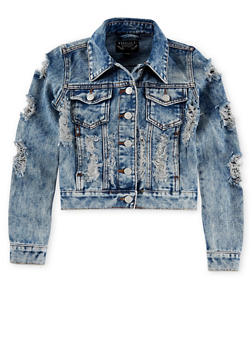 Girls 7-14 Long Sleeve Ripped Medium Wash Denim Jacket - 1627063400003