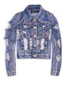 Girls 7-16 Paint Splatter Destroyed Denim Jacket - 1627063400004