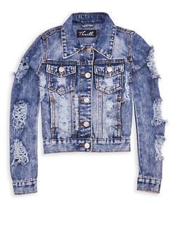 Girls 7-16 Lace Up Mesh Back Denim Jacket - 1627063400005