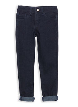 Girls 4-6x Dark Wash Cuffed Jeans - 1628056720012