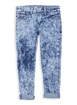 Girls 4-6x Acid Wash Cuffed Jeans - 1628056720014