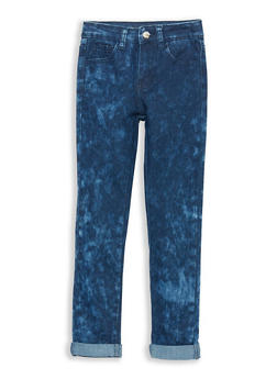 Girls 4-6x Acid Wash Cuffed Jeans - 1628056720015