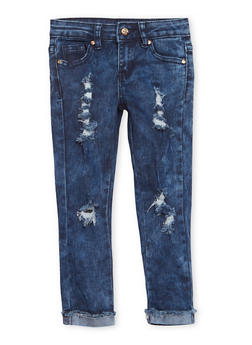 Girls 4-6x Distressed Cuff Hem Jeans - 1628056720021