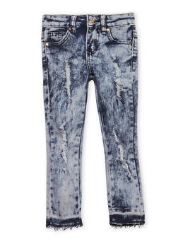 Girls 4-6x Distressed Raw Hem Jeans - 1628056720023