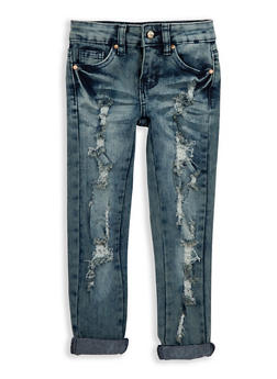 Girls 4-6x Distressed Whisker Wash Jeans - 1628056720024