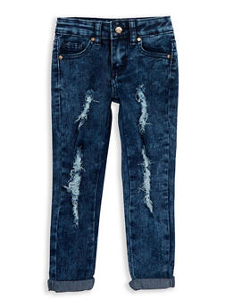 Girls 4-6x Dark Wash Distressed Jeans - 1628056720027