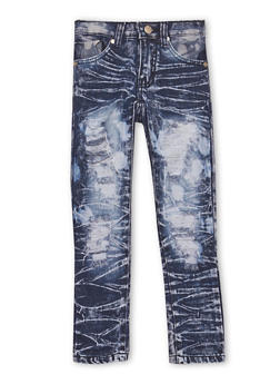 Girls 4-6x Distressed Skinny Jeans in Acid Wash - 1628063400004