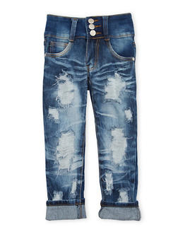 Girls 4-6x Three Button Skinny Jeans with Distressing - 1628063400013