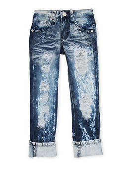 Girls 4-6x Ripped Skinny Jeans with Bleach Wash - 1628063400017