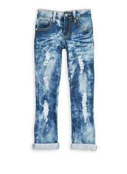 Girls 4-6x Distressed Whisker Wash Jeans - 1628063400035