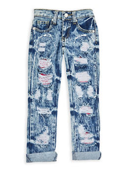 Girls 4-6x Ripped Patch and Repair Jeans - 1628063400038