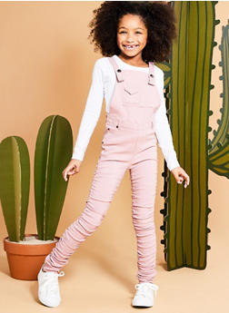 Girls 7-16 Ruched Stretch Overalls - 1629056570001