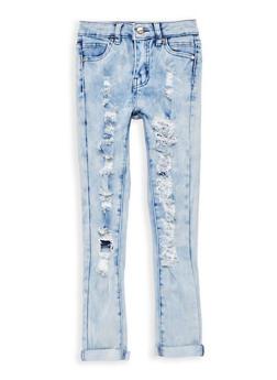 Girls 7-16 Light Wash Destroyed Jeans - 1629056720002