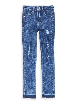 Girls 7-16 Distressed Acid Wash Skinny Jeans - 1629056720010