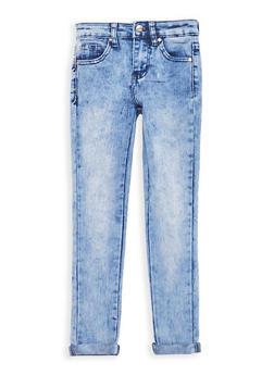 Girls 7-16 Cuffed Acid Wash Skinny Jeans - 1629056720012