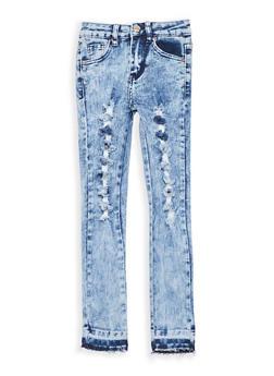 Girls 7-16 Destroyed Acid Wash Skinny Jeans - 1629056720016
