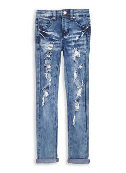 Girls 7-16 Cuffed Antique Wash Skinny Jeans - 1629056720017