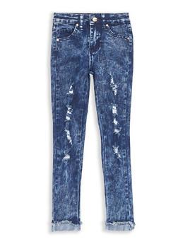 Girls 7-16 Distressed Acid Wash Skinny Jeans - 1629056720023