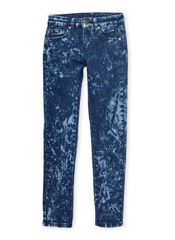 Girls 7-16 Bleached Wash Skinny Jeans - 1629056720389