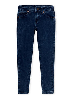Girls 7-16 Marble Wash Skinny Jeans with Five Pockets - 1629056720390