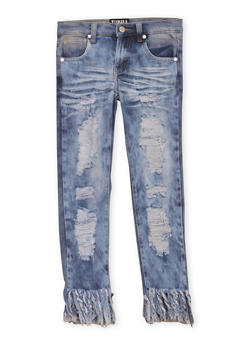 Girls 7-16 Distressed Jeans with Frayed Hems - 1629063400008