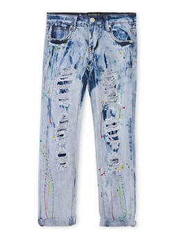 Girls 7-16 Paint Splatter Acid Wash Distressed Skinny Jeans - 1629063400039