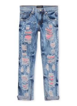 Girls 7-16 Acid Wash Rip and Repair Splatter Jeans - 1629063400040