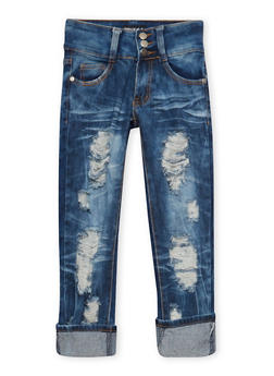 Girls 7-16 Distressed Skinny Jeans in Faded Wash - 1629063400041