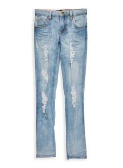 Girls 7-16 Destroyed Cloud Wash Skinny Jeans - 1629063400053