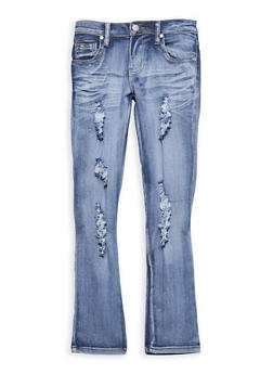 Girls 7-16 Distressed Light Wash Skinny Jeans - 1629063400055