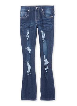 Girls 7-16 Destroyed Dark Wash Skinny Jeans - 1629063400058