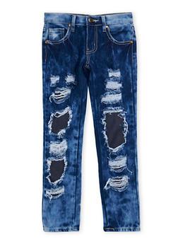 Girls 7-16 Distressed Rip and Repair Skinny Jeans - 1629063400059