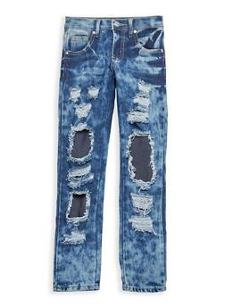 Girls 7-16 Acid Wash Rip and Repair Skinny Jeans - 1629063400060