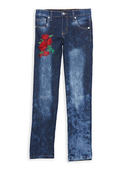 Girls 7-16 Rose Embroidered Jeans - 1629063400061