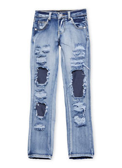 Girls 7-16 Rip and Repair Frayed Jeans - 1629063400062