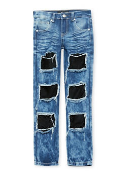 Girls 7-16 Dark Wash Mesh Patch and Repair Jeans - 1629063400063