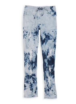Girls 7-16 Acid Wash Distressed Denim Pants - 1629063400065