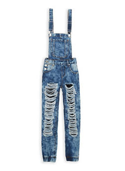 Girls 7-16 Destroyed Fishnet Insert Denim Overalls - 1629063400066