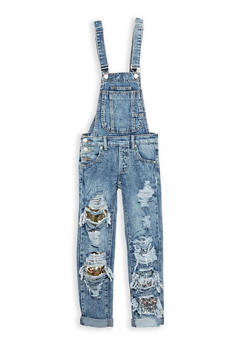 Girls 7-16 Destroyed Denim Overalls with Sequin Inserts - 1629063400067