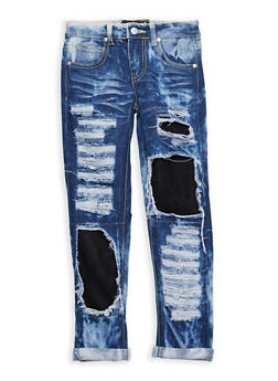 Girls 7-16 Ripped Patch and Repair Jeans - 1629063400073