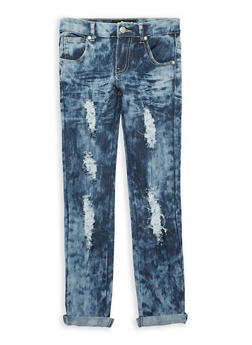 Girls 7-16 Cloud Wash Destroyed Jeans - 1629063400079