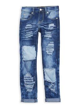 Girls 7-16 Whisker Wash Fishnet Jeans - 1629063400081