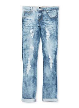 Girls 7-16 Dark Wash Distressed Jeans - 1629063400082