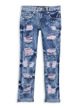 Girls 7-16 Ripped Patch and Repair Jeans - 1629063400083
