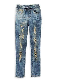 Girls 7-16 Cloud Wash Destroyed Jeggings - 1629063400086